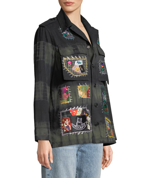 Button-Front Embroidered-Patchwork Army Jacket