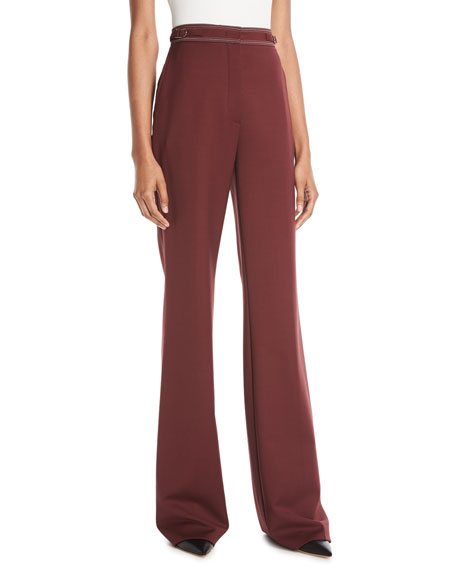 Vesta High-Waist Wide-Leg Wool Pants w/ Contrast Topstitching