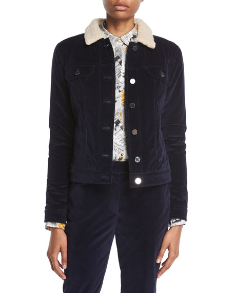 Gabriela Hearst Button-Front Stretch-Corduroy Jacket w/ Teddy Cashmere Lining