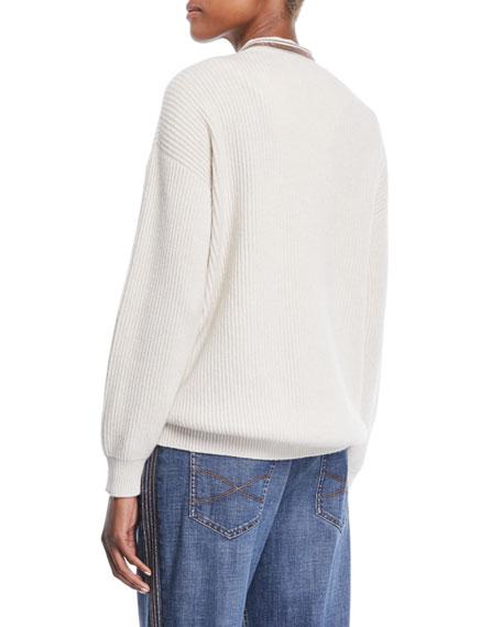Monili Deep V-Neck Ribbed Cashmere Sweater