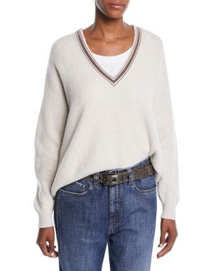 6673721816a0 Brunello Cucinelli Monili Deep V-Neck Ribbed Cashmere Sweater