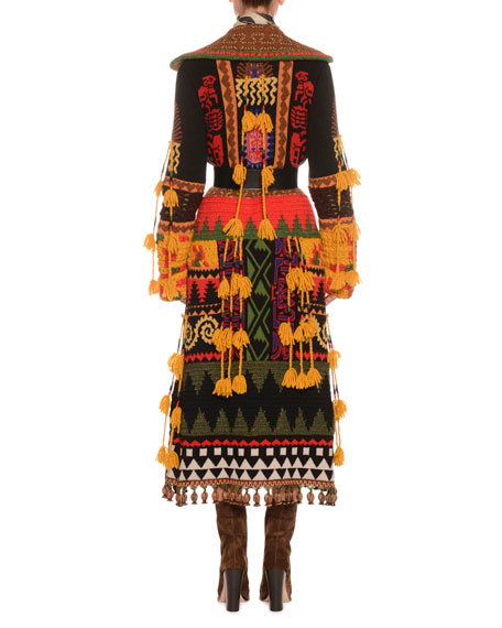 Notched-Collar Button-Front Mixed-Embroidered Long Coat w/ Fringe