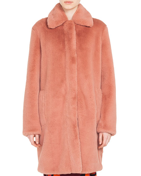 Akris punto Spread-Collar Zip-Front Faux-Fur Coat and Matching