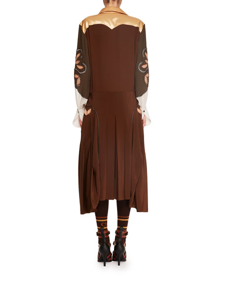 Long-Sleeve Button-Front Mid-Calf Cowboy Embroidered Satin Dress
