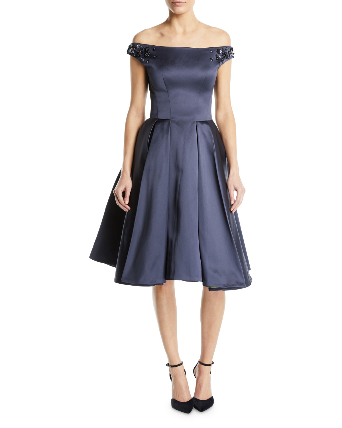 Zac Posen Off The Shoulder Beaded Strap Fit And Flare