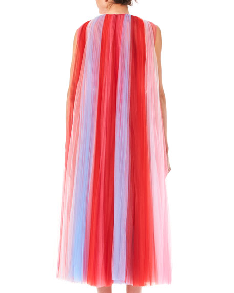 Sleeveless Striped Tulle Dress