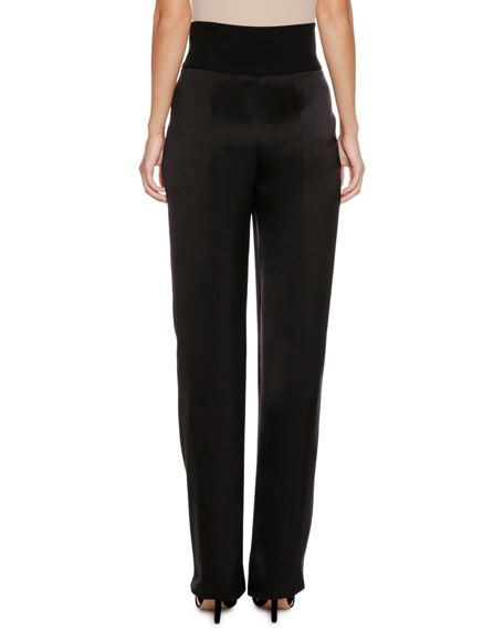High-Waist Tapered-Leg Satin Trousers