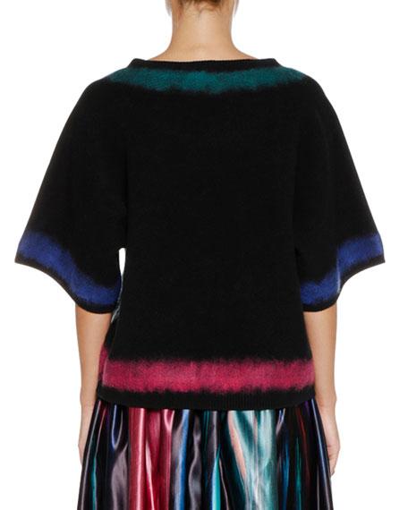 Round-Neck Elbow-Sleeve Wool-Cashmere Sweater