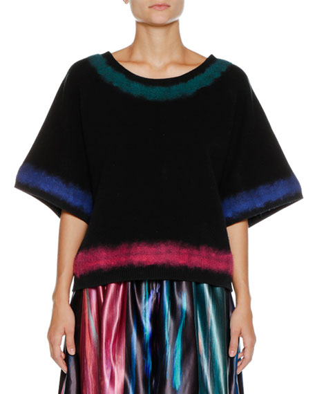 Giorgio Armani Round-Neck Elbow-Sleeve Wool-Cashmere Sweater and