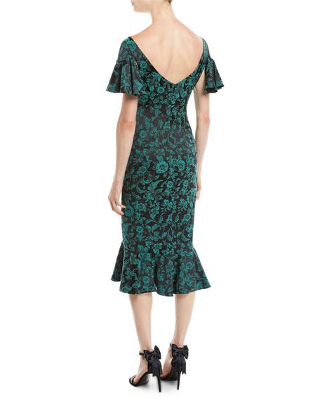 V-Neck Ruffled-Sleeve Floral-Print Cocktail Dress w/ Flared Hem