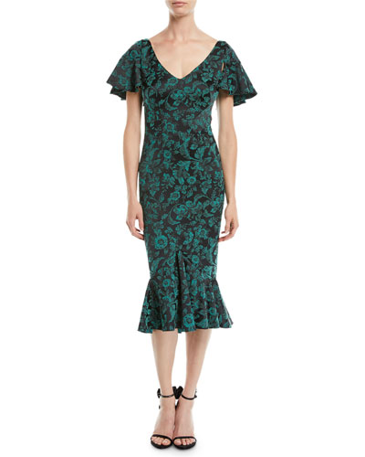 V-Neck Ruffled-Sleeve Floral-Print Cocktail Dress w/ Flared Hem