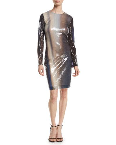 Long-Sleeve Degrade Liquid-Paillette Cocktail Dress