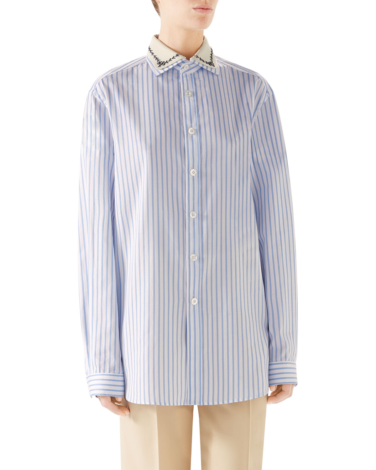 Gucci Embroidered Collar Button Placket Long Sleeve Striped Cotton