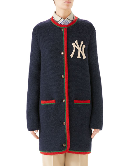 NY Yankees MLB Crewneck Cardigan w/ Back Logo Applique