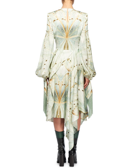 Jewel-Neck Scarf Long-Sleeve Glass-Wing Print Silk Dress