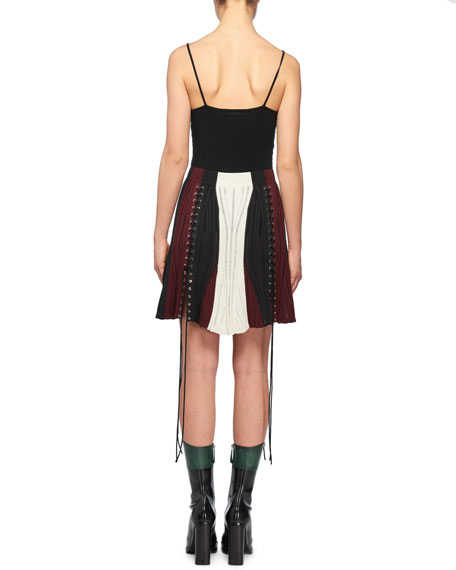 A-Line Colorblocked Lacing Knit Mini Skirt