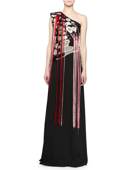 One-Shoulder Embroidered-Butterfly A-Line Evening Gown w/ Fringe