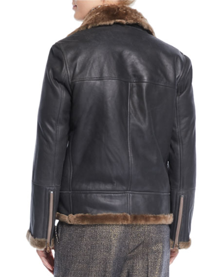 Zip-Front Shearling & Leather Moto Jacket w/ Monili Trim