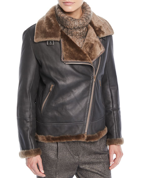 Brunello Cucinelli Zip-Front Shearling & Leather Moto Jacket