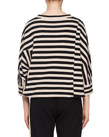 Crewneck Dolman-Sleeve Striped-Print Sweater