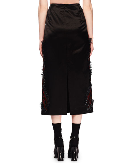 Shine Embroidered A-Line Sateen Midi Skirt
