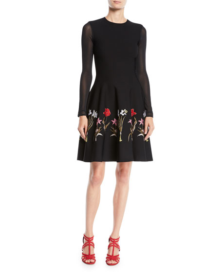 Oscar de la Renta Long-Sleeve Fit-and-Flare Flower Harvest