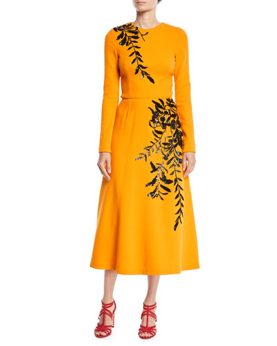 Long-Sleeve Jewel-Neck A-Line Leaf-Embroidered Tea-Length Cocktail Dress