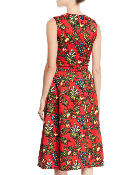 Image 2 of 2: Sleeveless Jewel-Neck 2-Pocket Fit-and-Flare Floral-Embroidered Day Dress