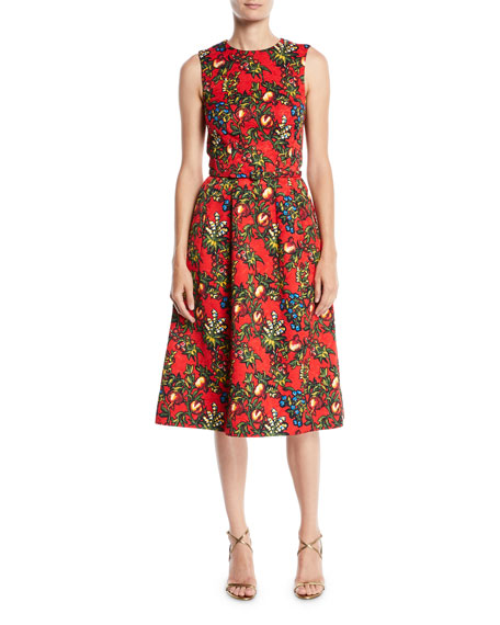 Image 1 of 2: Sleeveless Jewel-Neck 2-Pocket Fit-and-Flare Floral-Embroidered Day Dress