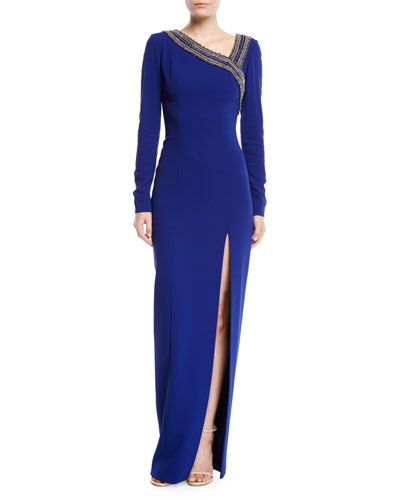 Asymmetric Embroidered Neckline Long-Sleeve Stretch-Crepe Column Gown