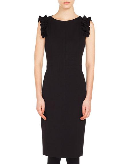 Sleeveless Ruffled-Sleeve Jersey Knee-Length Dress