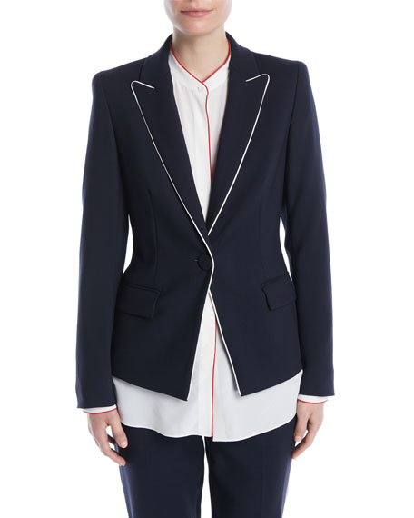 Escada One-Button Wool-Blend Jacket w/ Contrast Piping and