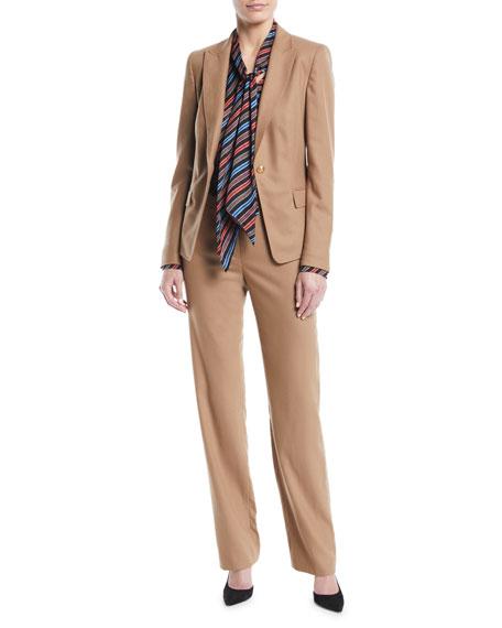 Tobata Straight-Leg Flannel Wool-Blend Pants