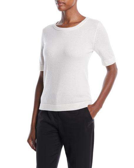 Crewneck Short-Sleeve Wool-Cashmere Sweater