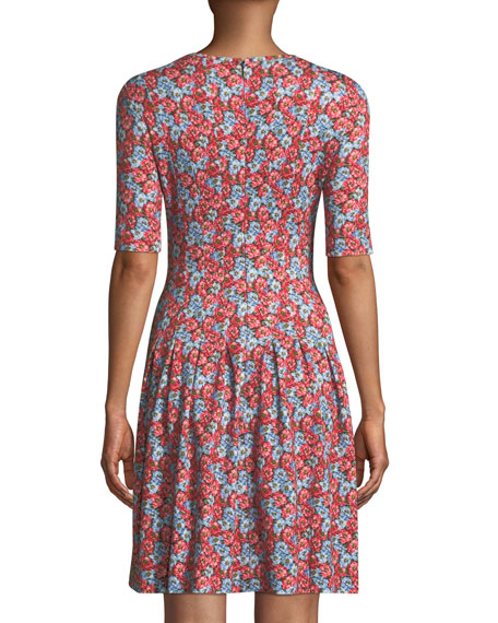 Elbow-Sleeve Fit-and-Flare Floral-Print Jersey Dress