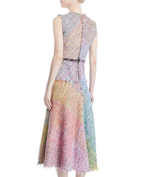 Sleeveless Metallic Multi-Tweed Mid-Length Dress w/ Fringe Trim