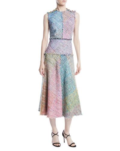 Sleeveless Metallic Multi-Tweed Mid-Length Dress w/ Fringe Trim