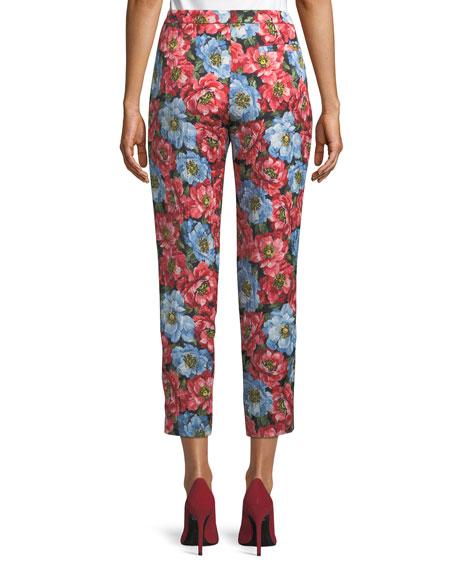 Talaranto Straight-Leg Front-Zip Floral-Jacquard Ankle Pants