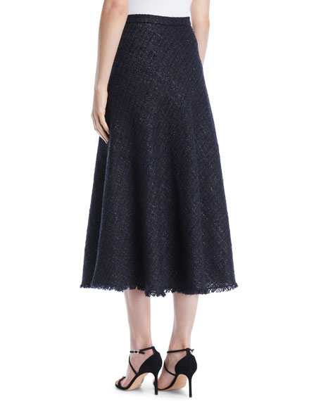 A-Line Metallic Tweed Midi Circle Skirt