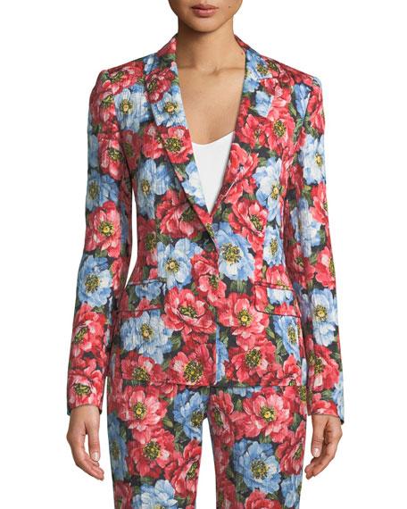 One-Button Notched-Lapel Floral-Jacquard Jacket