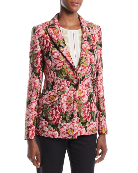 One-Button Floral-Jacquard Tailored Jacket