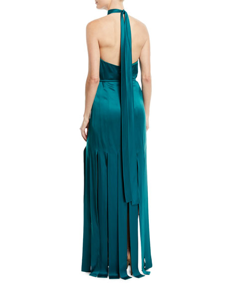 Halter-Neck Sleeveless Silk Satin Evening Gown w/ Car Wash Hem