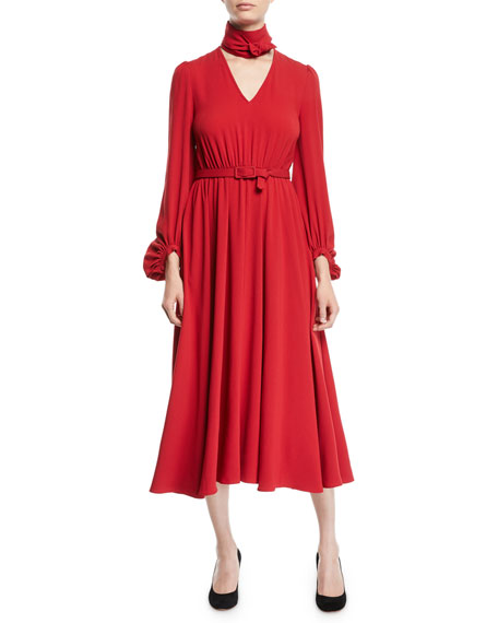 Co Tie-Neck Long-Sleeve Belted Japanese Crepe Midi Dress