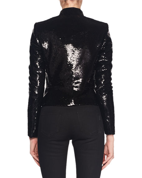 Stand-Collar Frog-Closure Short Boxy Sequin Jacket