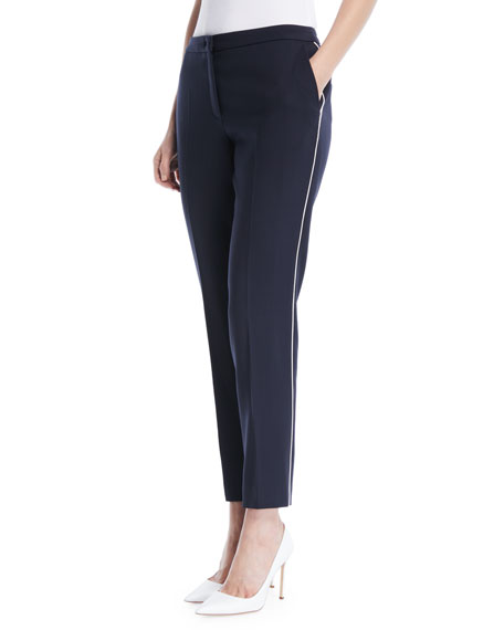 Slim Wool-Blend Cropped Pants w/ Piping