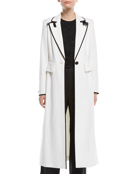 One-Button Wool Coat w/ Bow Details & Satin Piping