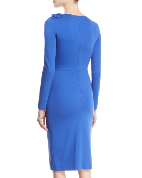 Bow-Shoulder Long-Sleeve Jersey Bodycon Dress