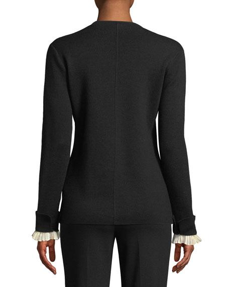 Wool/Silk V-Neck Cardigan w/ Detachable Cuffs