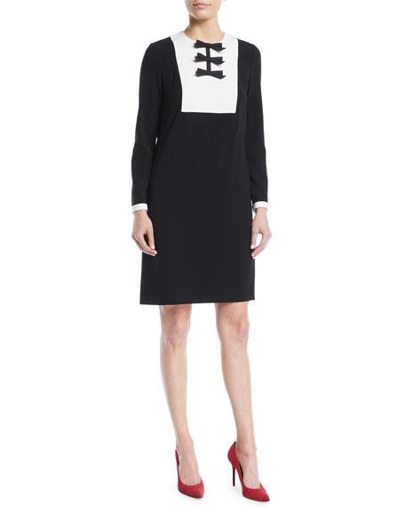 Escada Bow-Detail Bib Long-Sleeve A-Line Cocktail Dress