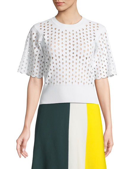 Derek Lam Short-Sleeve Crewneck Cutout Knit Top